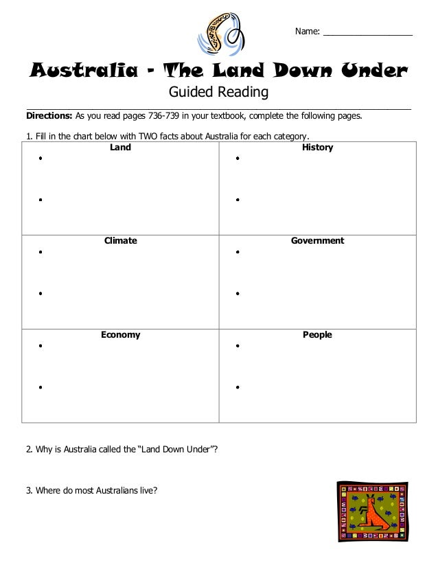 Name: ___________________ Australia – The Land Down Under Guided Reading _________________________________________________...
