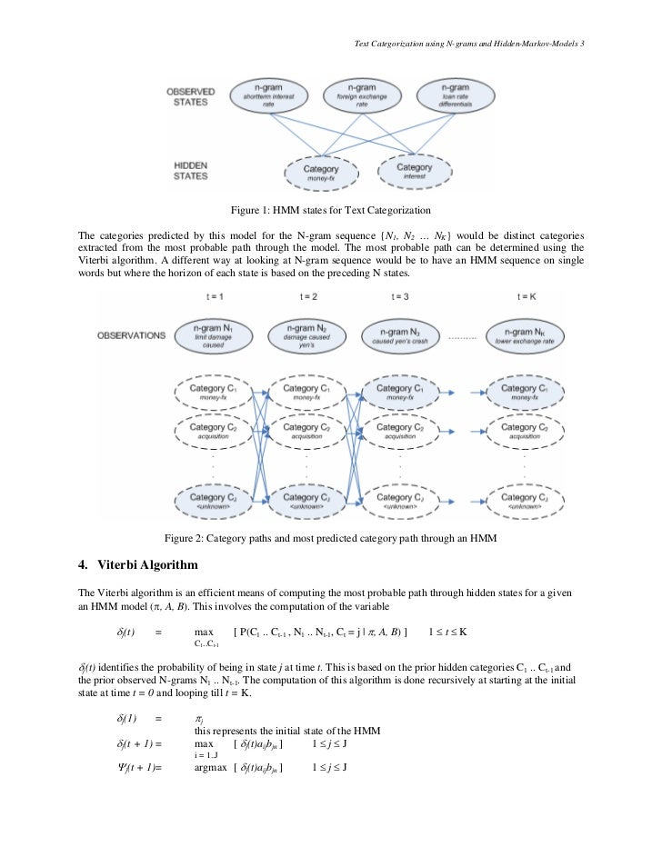 Text Categorization using N-grams and Hidden-Markov-Models