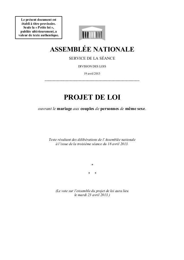ASSEMBLÉE NATIONALESERVICE DE LA SÉANCEDIVISION DES LOIS19 avril 2013___________________________________________________PR...