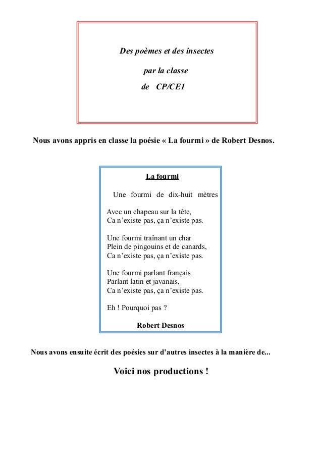 Des poèmes et des insectes                                    par la classe                                   de CP/CE1Nou...