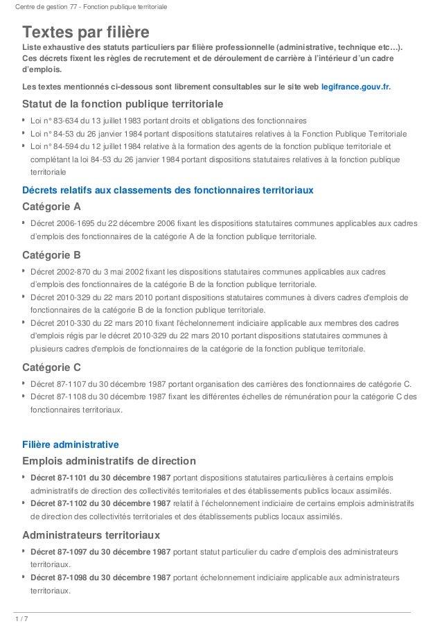 105b753a511 Centre de gestion 77 - Fonction publique territoriale  1 7 Textes par  filière Liste exhaustive ...