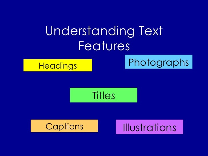 Understanding Text Features Headings Titles Photographs Illustrations Captions