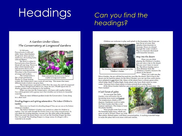 Headings Can you find the headings?