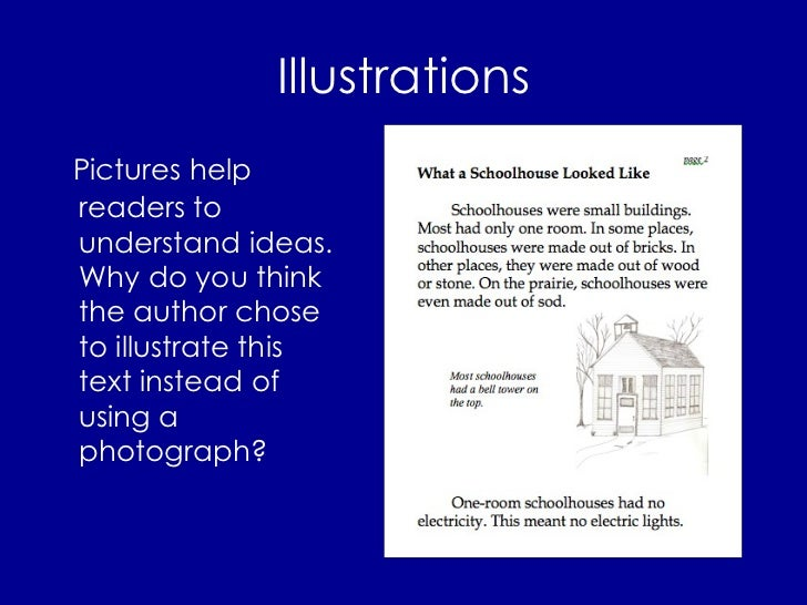 Illustrations <ul><li>Pictures help readers to understand ideas. Why do you think the author chose to illustrate this text...
