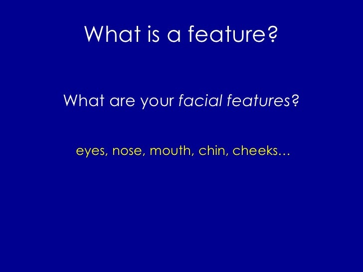 What is a feature? <ul><li>What are your  facial features ? </li></ul>eyes, nose, mouth, chin, cheeks…