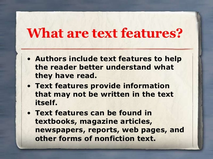 what is a text feature