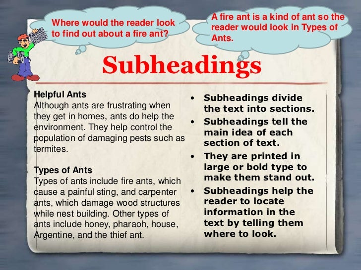 A fire ant is a kind of ant so the    Where would the reader look                                        reader would look...