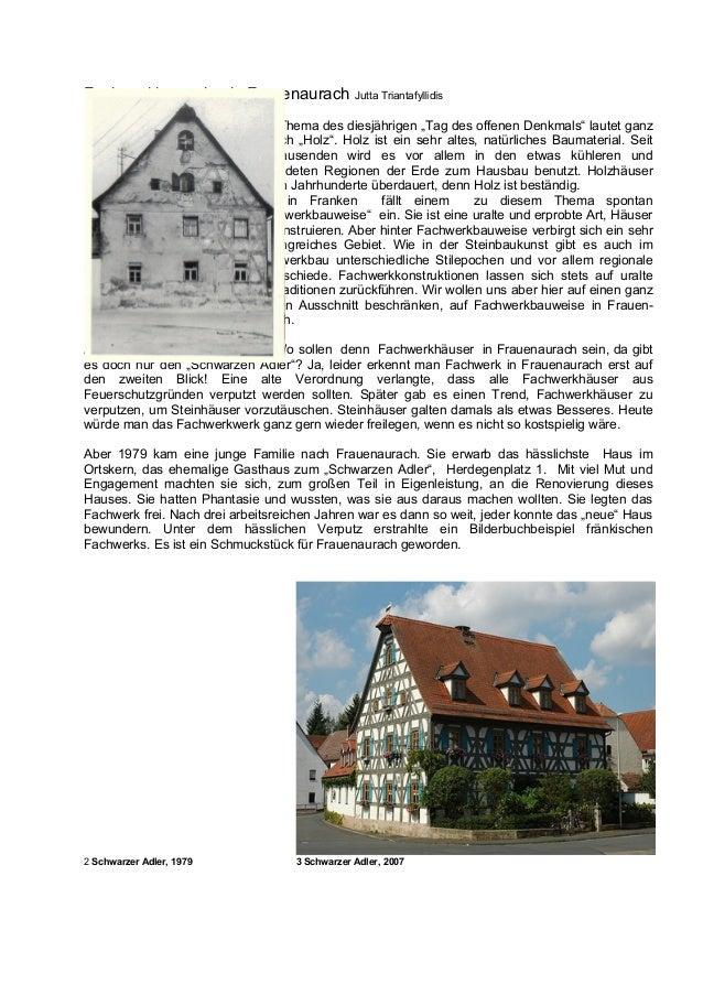 Fachwerkbauweise in Frauenaurach               Jutta Triantafyllidis                            Das Thema des diesjährigen...