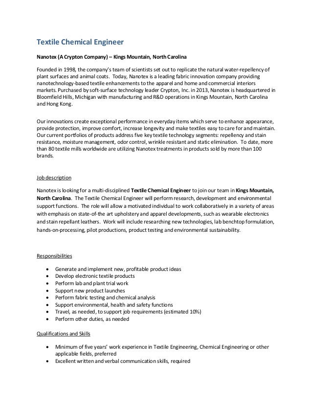 Textile Chemical Engineer