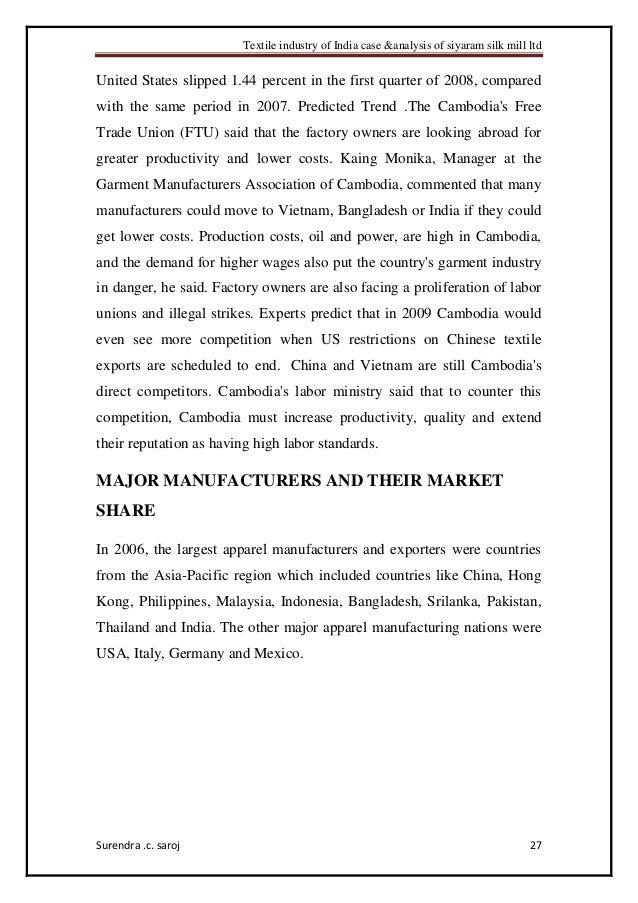 Textile industry of india case & analysis of siyaram silk mill ltd