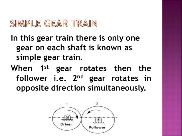 In this gear train there is only one gear on each shaft is known as simple gear train. When 1st gear rotates then the foll...