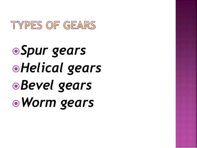 Spur gears Helical gears Bevel gears Worm gears