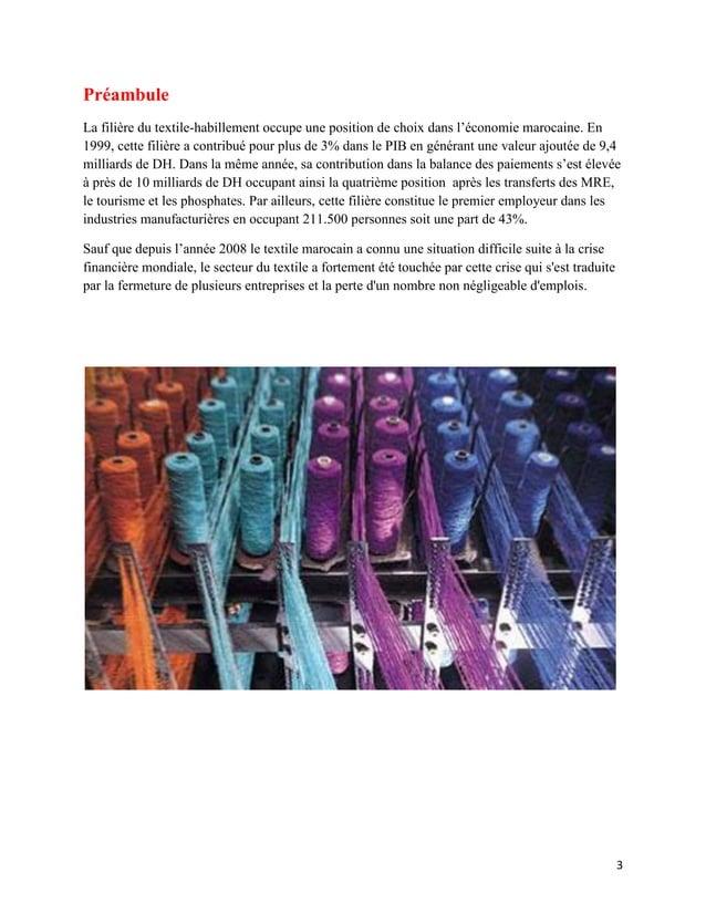 PréambuleLa filière du textile-habillement occupe une position de choix dans l'économie marocaine. En1999, cette filière a...