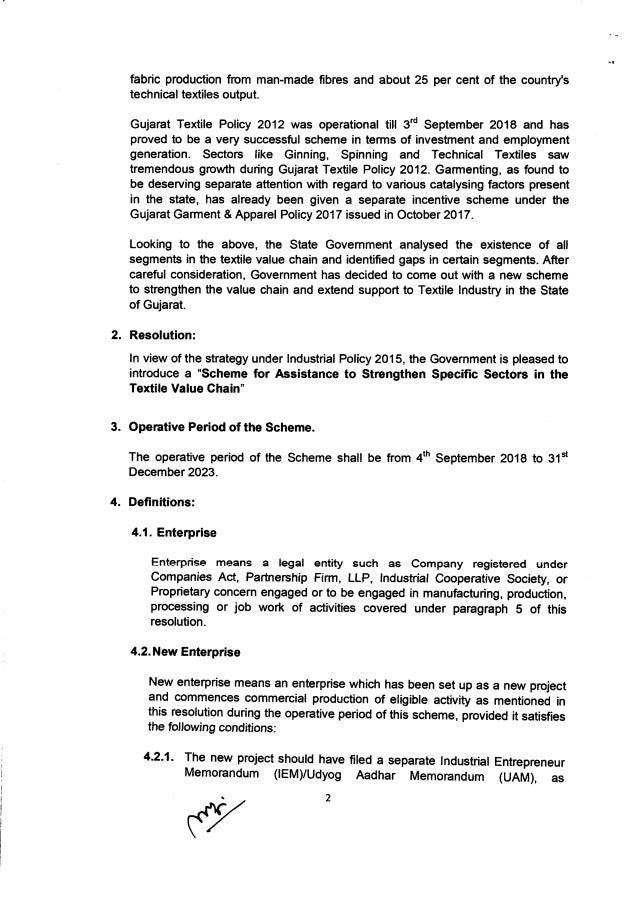 GUJARAT Textile policy 2019-2023