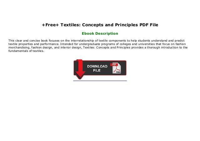 Free Textiles Concepts And Principles Pdf File