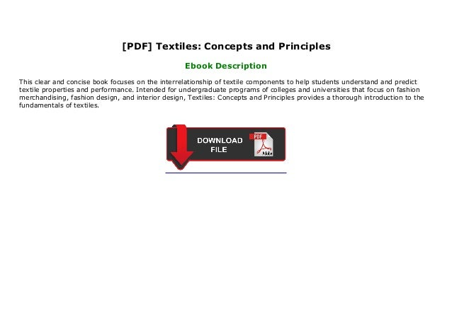 Pdf Textiles Concepts And Principles