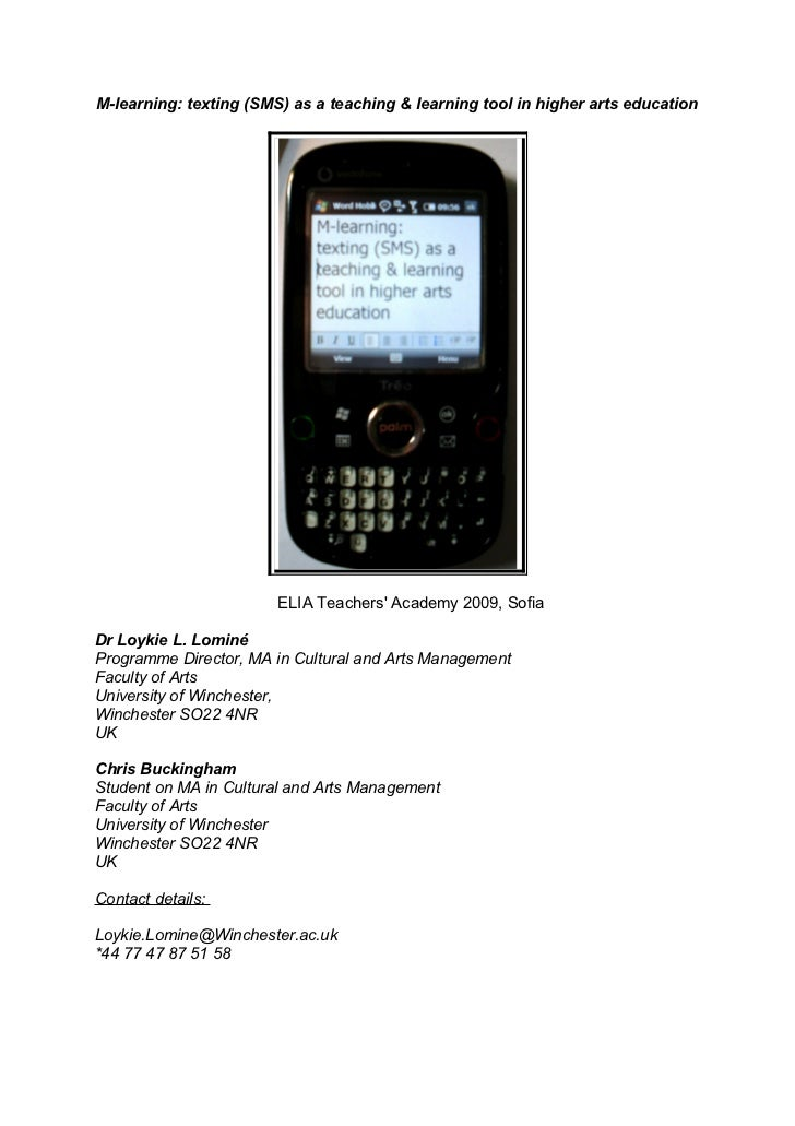 M-learning: texting (SMS) as a teaching & learning tool in higher arts education