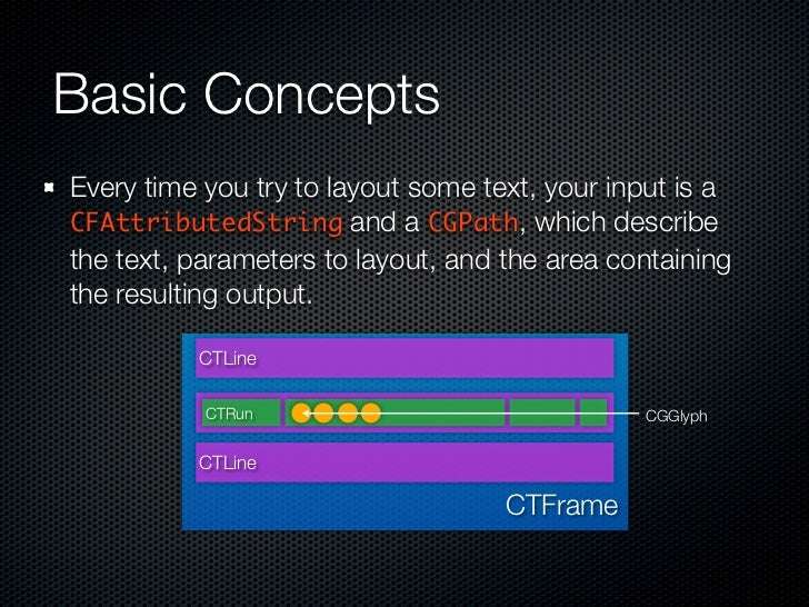 Basic Concepts Every time you try to layout some text, your input is a CFAttributedString and a CGPath, which describe the...