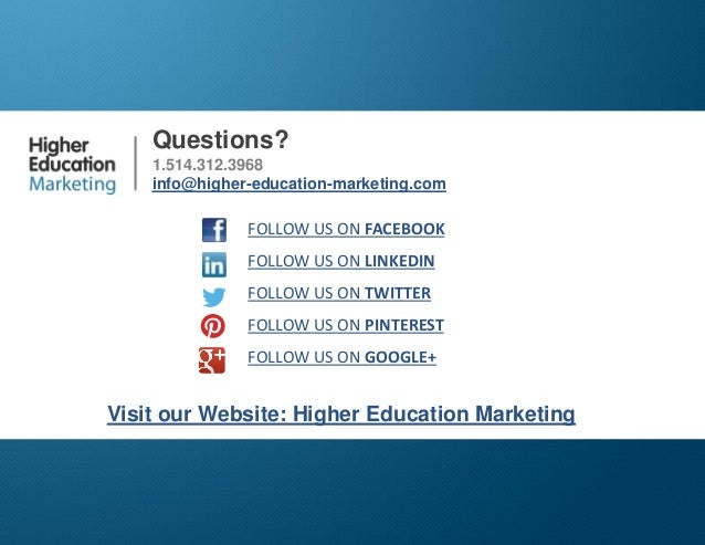 Text Messaging for Student Recruitment  Questions? 1.514.312.3968 info@higher-education-marketing.com  FOLLOW US ON FACEBO...