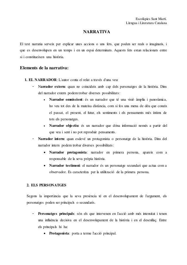Escolàpies Sant Martí.  Llengua i Literatura Catalana  NARRATIVA  El text narratiu serveix per explicar unes accions o uns...