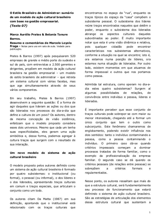 1 O Estilo Brasileiro de Administrar: sumário de um modelo de ação cultural brasileiro com base na gestão empresarial. (Te...