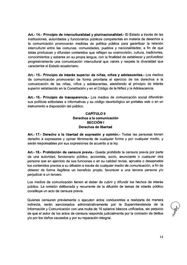 ley de comunicacion ecuador 2013 pdf