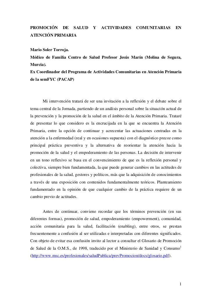 PROMOCIÓN          DE    SALUD       Y    ACTIVIDADES          COMUNITARIAS           ENATENCIÓN PRIMARIAMario Soler Torro...