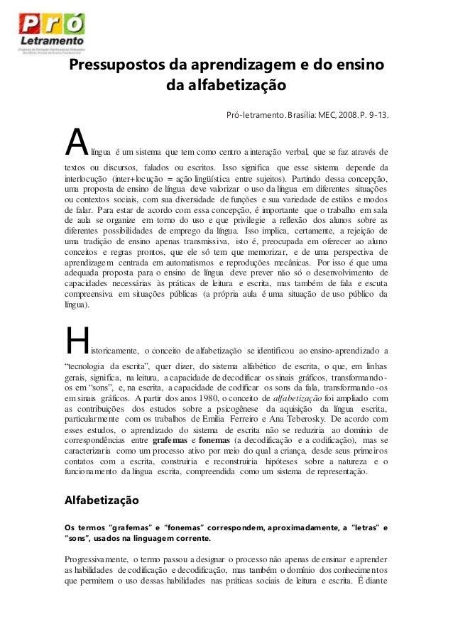 texto pró e atividadepressupostos da aprendizagem e do ensino da alfabetização pró letramento