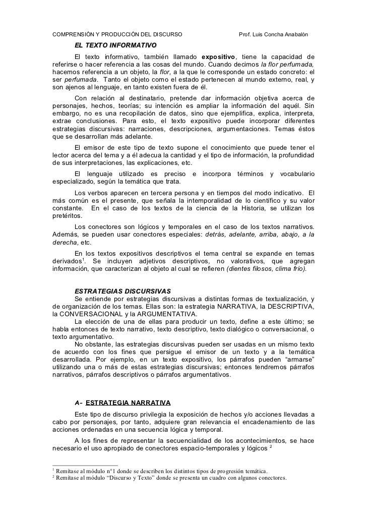 COMPRENSIÓN Y PRODUCCIÓN DEL DISCURSO                                     Prof. Luis Concha Anabalón            EL TEXTO I...