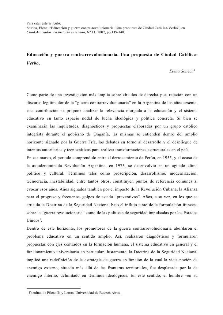 """Para citar este artículo: Scirica, Elena: """"Educación y guerra contra-revolucionaria. Una propuesta de Ciudad Católica-Verb..."""