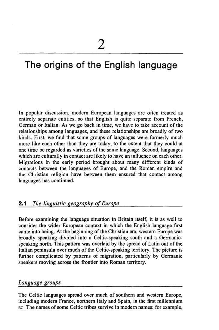 2  The origins of the English languageIn popular discussion, modern European languages are often treated asentirely separa...