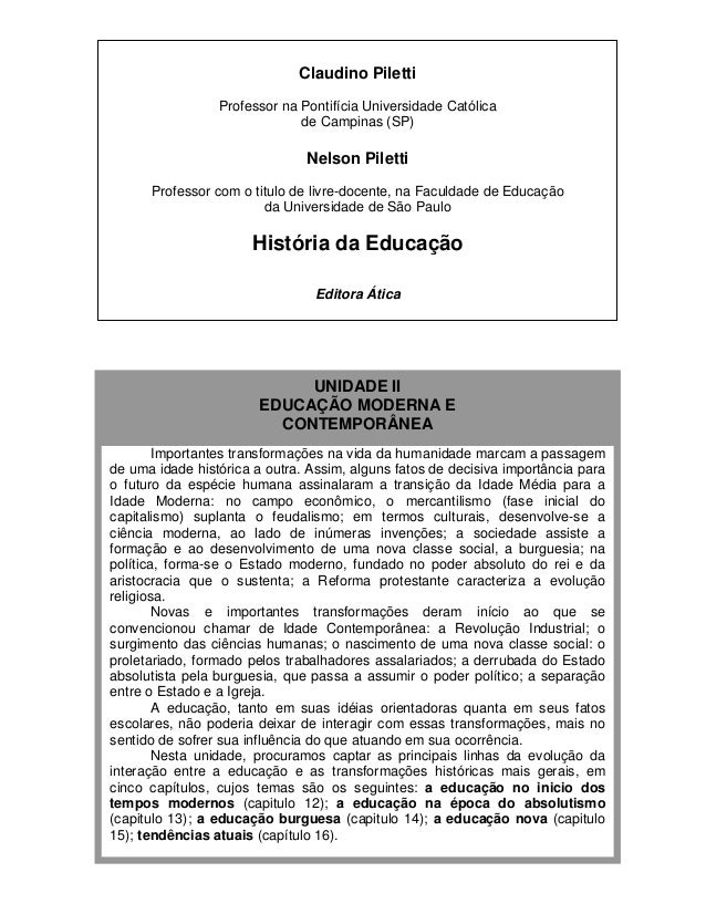 UNIDADE II Claudino Piletti Professor na Pontifícia Universidade Católica de Campinas (SP) Nelson Piletti Professor com o ...