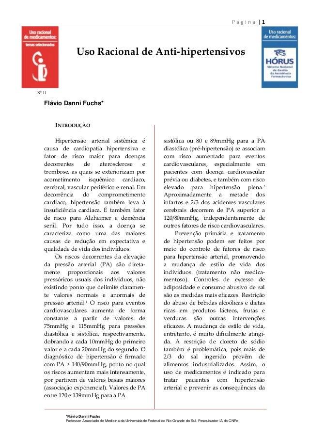 Página |1                 Uso Racional de Anti-hipertensivosNº 11   Flávio Danni Fuchs*        INTRODUÇÃO        Hipertens...