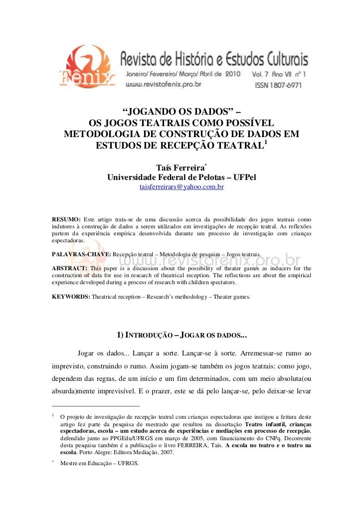 """""""JOGANDO OS DADOS"""" –        OS JOGOS TEATRAIS COMO POSSÍVEL     METODOLOGIA DE CONSTRUÇÃO DE DADOS EM         ESTUDOS DE R..."""