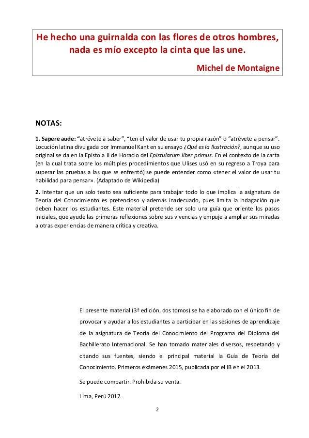 Teoría del Conocimiento. T1. Materiales Sapere Aude. 3a edición 2017.