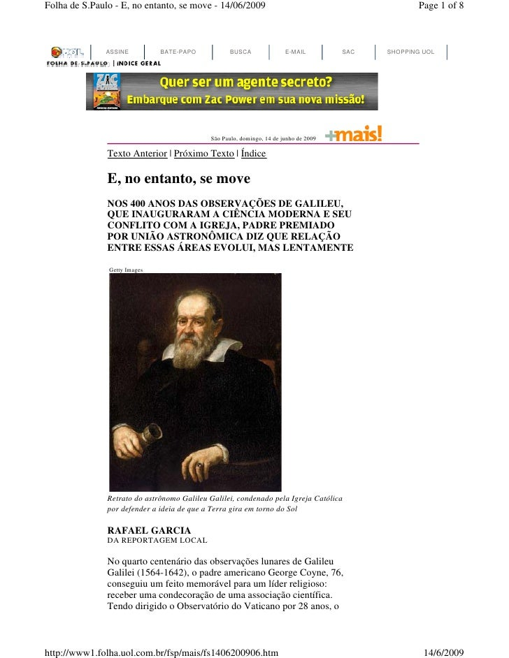 Folha de S.Paulo - E, no entanto, se move - 14/06/2009                                             Page 1 of 8            ...