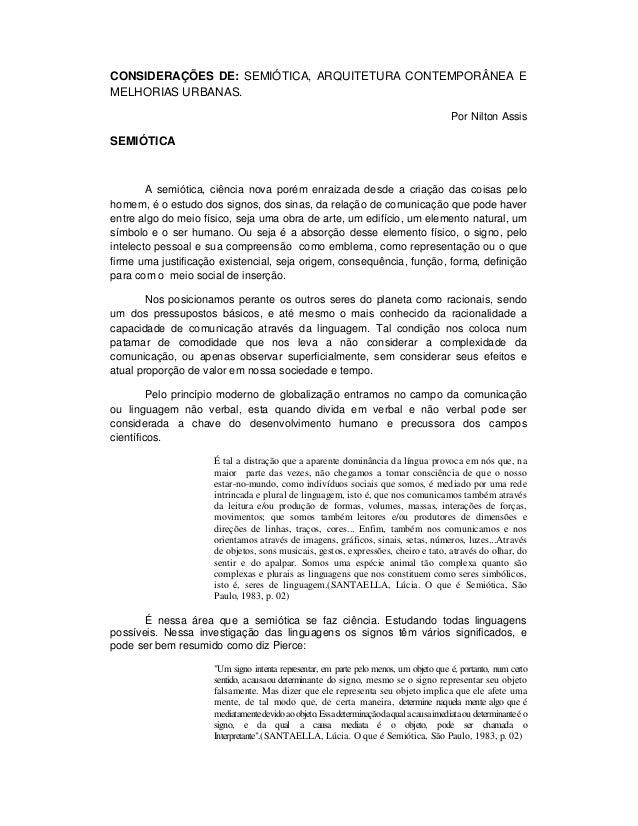 CONSIDERAÇÕES DE: SEMIÓTICA, ARQUITETURA CONTEMPORÂNEA EMELHORIAS URBANAS.                                                ...