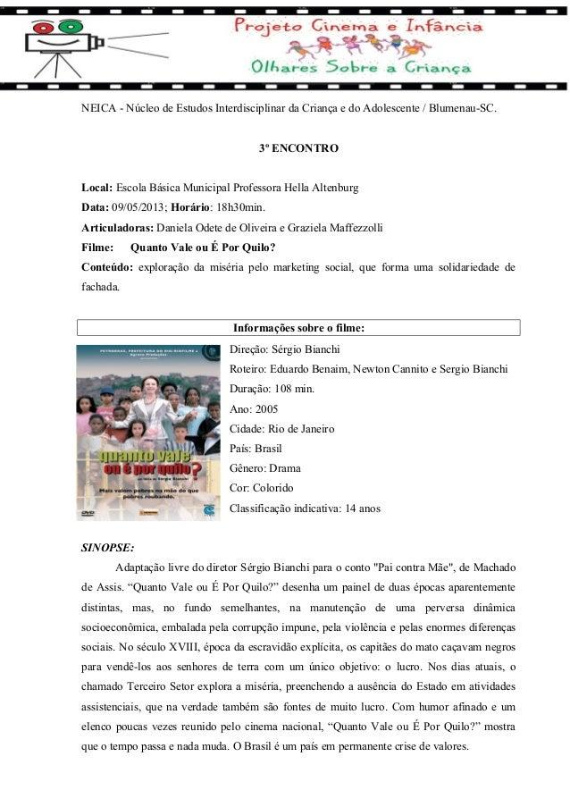 NEICA - Núcleo de Estudos Interdisciplinar da Criança e do Adolescente / Blumenau-SC. 3º ENCONTRO Local: Escola Básica Mun...