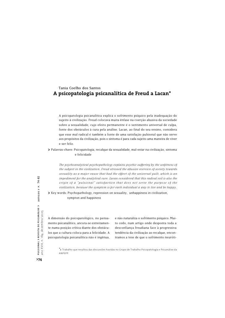 Tania Coelho dos Santos                                           A psicopatologia psicanalítica de Freud a Lacan*        ...