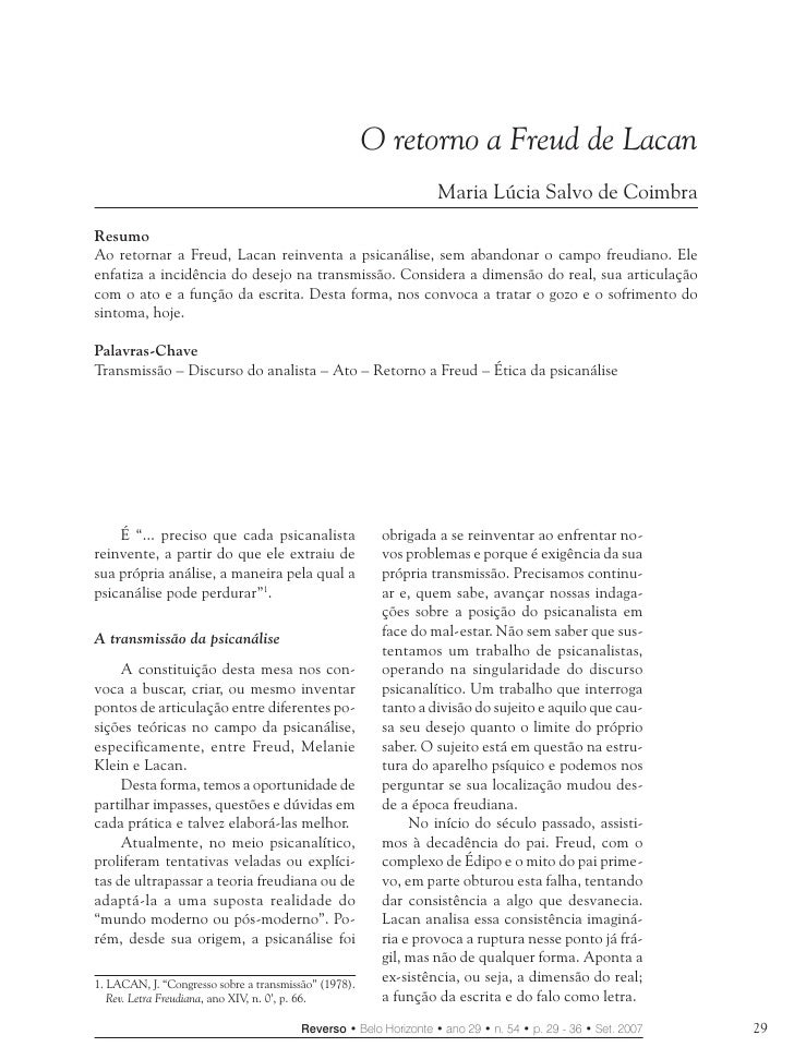 O Retorno a Freud de Lacan                                                            O retorno a Freud de Lacan          ...