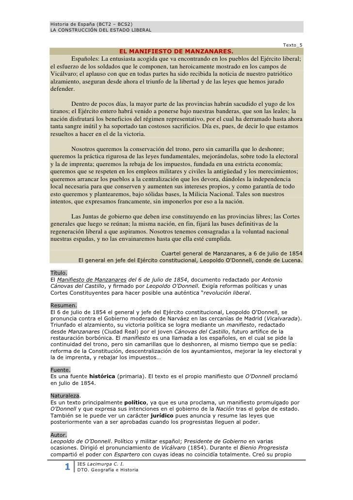 Historia de España (BCT2 – BCS2)LA CONSTRUCCIÓN DEL ESTADO LIBERAL                                                        ...