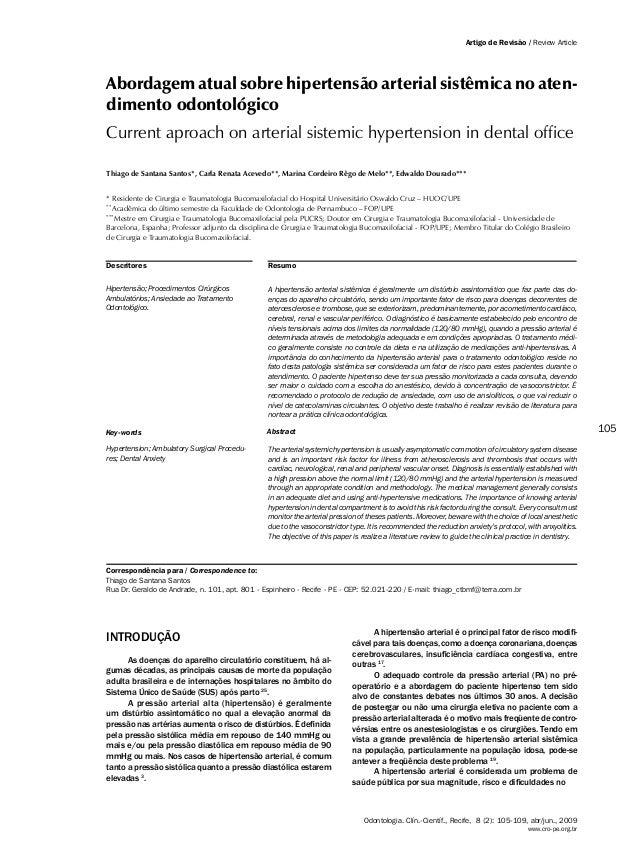 Abordagem atual sobre hipertensão arterial sistêmica no atendimento odontológico                                          ...