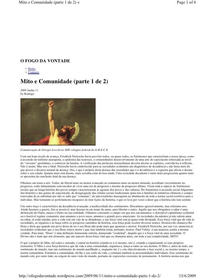 Mito e Comunidade (parte 1 de 2) «                                                                                        ...