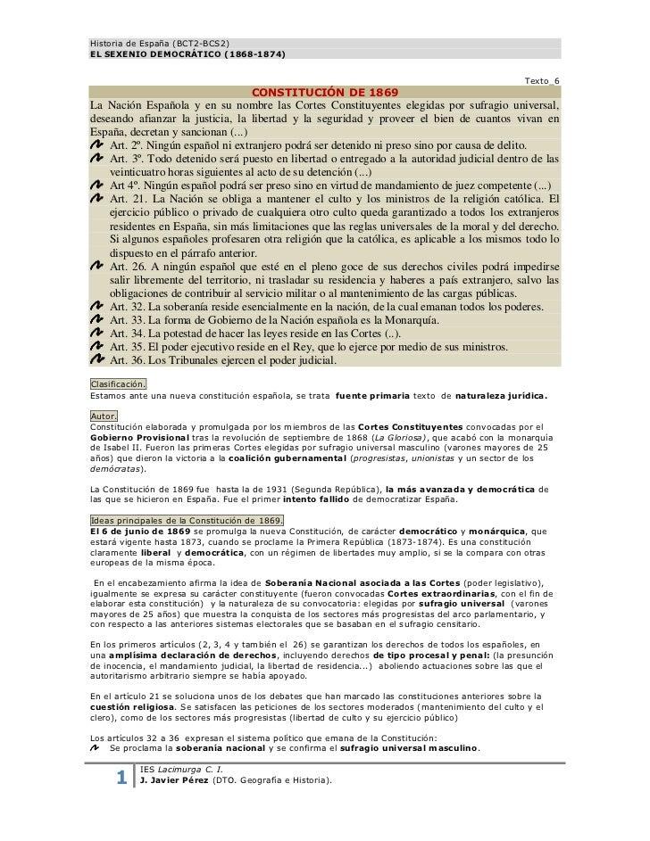 Historia de España (BCT2-BCS2)EL SEXENIO DEMOCRÁTICO (1868-1874)                                                          ...