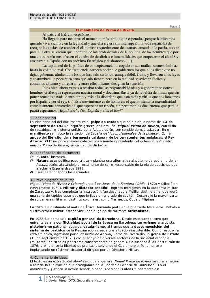 Historia de España (BCS2-BCT2)EL REINADO DE ALFONSO XIII.                                                                 ...