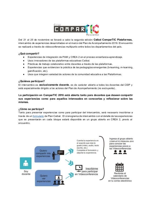 Del 21 al 25 de noviembre se llevará a cabo la segunda edición Ceibal ComparTIC Plataformas, intercambio de experiencias ...