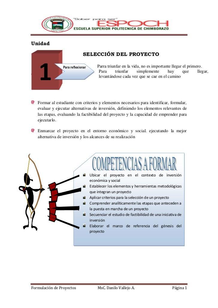 Unidad                               SELECCIÓN DEL PROYECTO    1Objetivos                 Para reflexionar       Parra tri...