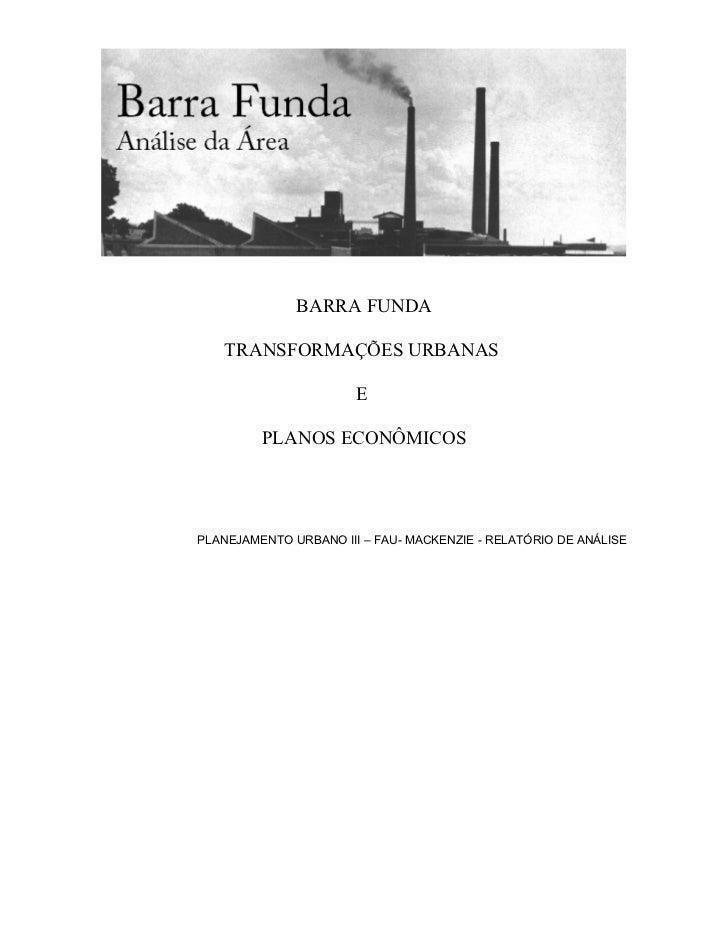 Planurb 3 - Análise e propostas Barra Funda