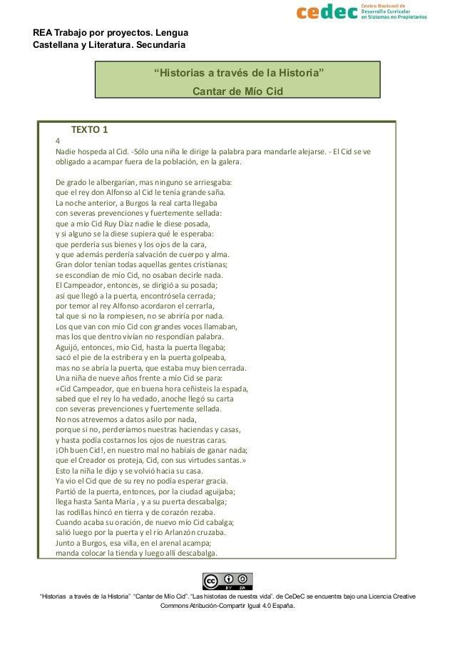 """REA Trabajo por proyectos. Lengua Castellana y Literatura. Secundaria """"Historias a través de la Historia"""" Cantar de Mío Ci..."""