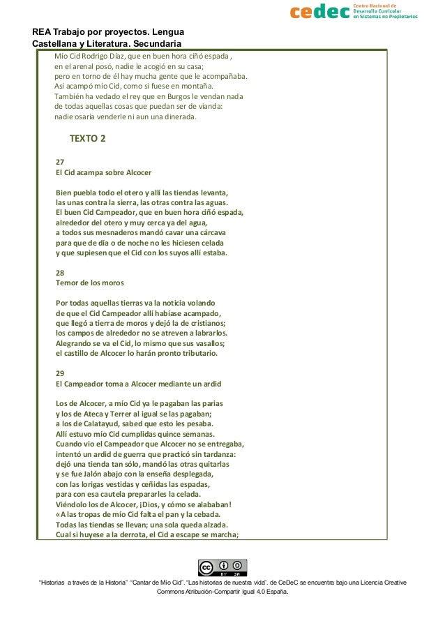 REA Trabajo por proyectos. Lengua Castellana y Literatura. Secundaria Mío Cid Rodrigo Díaz, que en buen hora ciñó espada ,...